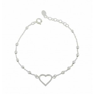 Open Heart and Silver Ball Bracelet