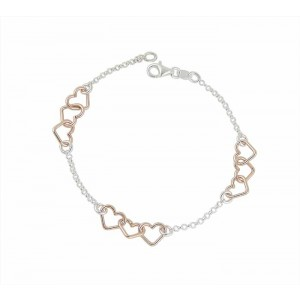 Rose Gold Plated Link Silver Heart Bracelet