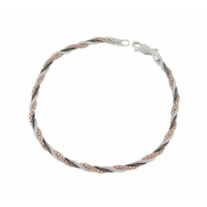 Three Tone Silver Chain Plaited Bracelet