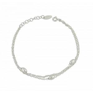 Silver Oval Bead Bracelet