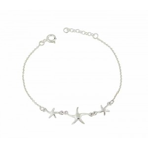 Trio of Starfish Silver Chain Bracelet