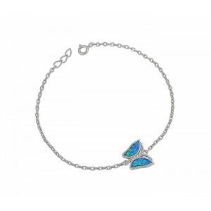 Butterfly Charm Blue Opal Silver Bracelet