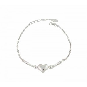 Heart and Silver Bead Bracelet