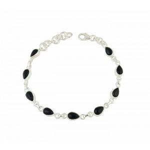 Black Onyx Teardrop Silver Bracelet