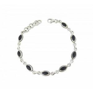 Marquise Black Onyx Silver Bracelet
