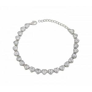 Cubic Zirconia Silver Heart Bracelet