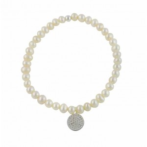 Freshwater Pearl and Cubic Zirconia Disc Stretch Bracelet