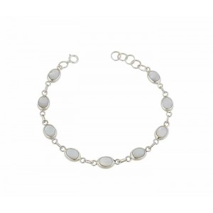 Abalone and Mother of Pearl Oval Silver Bracelet