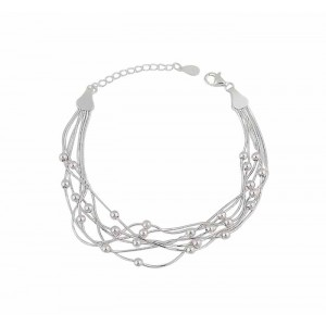 Multi Strand Silver Chain and Bead Bracelet