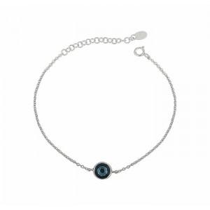 Montana Blue Circle Swarovski Crystal Silver Bracelet