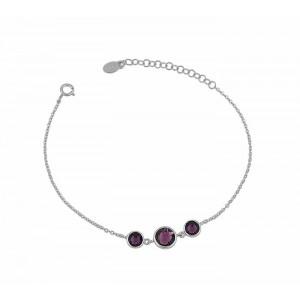Cascading Amethyst Swarovski Crystal Silver Bracelet