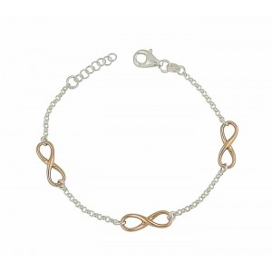 Rose Gold Plated Triple Infinity Silver Bracelet