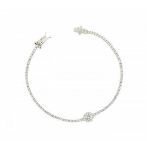 Halo Set Cubic Zirconia Silver Bracelet