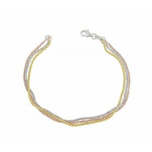 Tri Colour Daisy Chain Silver Bracelet