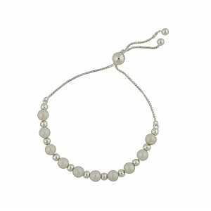Freshwater Pearl and Silver Ball Slider Bracelet