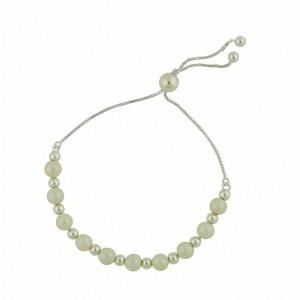 Freshwater Pearl and Silver Ball Slider Bracelet