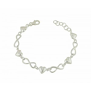 Heart and Infinity Charm Silver Bracelet