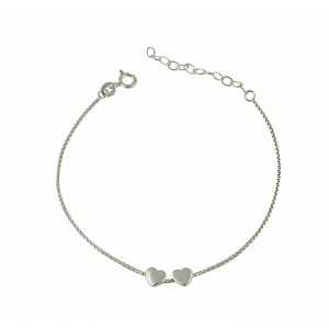 Twin Small Heart Charm Bracelet