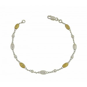Diamond Cut Gold Plated Oval Bead Silver Bracelet
