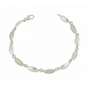 Matte and Satin Finish Silver Bean Bracelet