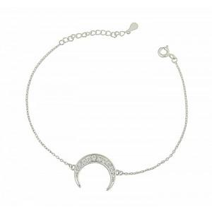 Crescent Charm Silver Bracelet