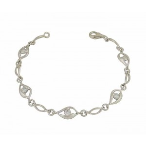 Open Marquise and Cubic Zirconia Silver Bracelet