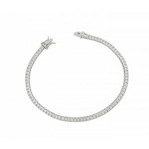 Sterling Silver Cubic Zirconia Link Cuboid Tennis Bracelet