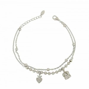 Crowned Charm Dual Silver Bracelet