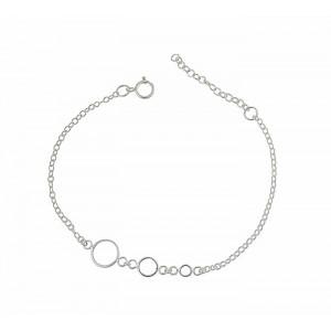 Ringed Silver Chain Bracelet