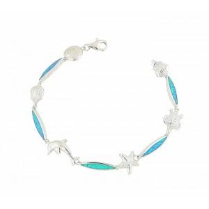 Aquatic Opal Sterling Silver Bracelet