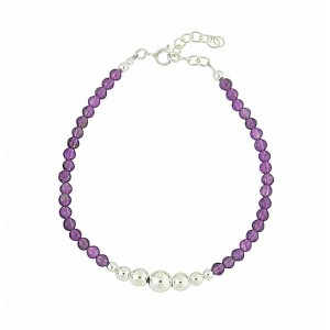 Amethyst Bead Sterling Silver Bracelet