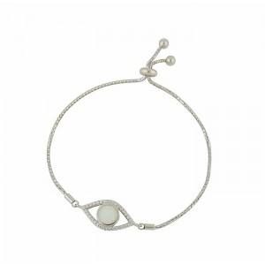 White Opal Protecting Eye Slider Bracelet