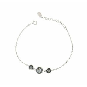 Trio of Silver Night Swarovski Crystal Bracelet