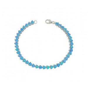 Blue Opal Heart Link Bracelet