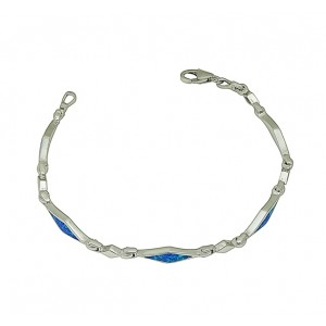 Blue Opal Diamond Link Bracelet