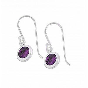 Round Cubic Zirconia Drop Sterling Silver Earrings