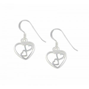 Triple Heart Drop Earrings