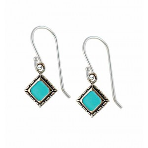 Geometric Shape Sterling Silver Turquoise Earrings