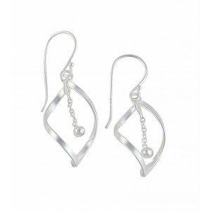 Twisted Diamond Silver Drop Earrings