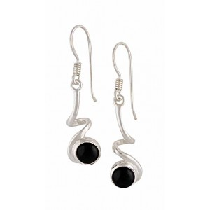 Silver Curly Black Onyx Earrings - Black Onyx Jewellery