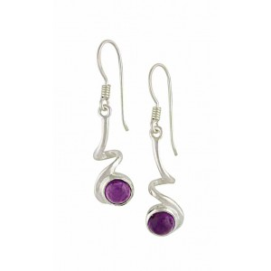 Silver Curly Stem Amethyst Earrings