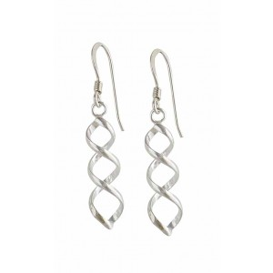 Simple Twist Silver Drop Earrings