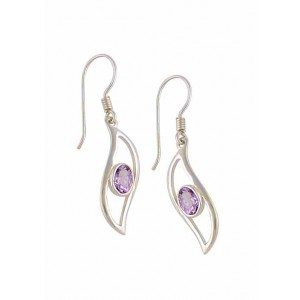 Open Wave Sterling Silver Drop Amethyst Earrings