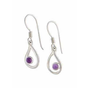 Open Teardrop Silver Amethyst Earrings