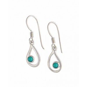 Turquoise and Open Teardrop Silver Earrings
