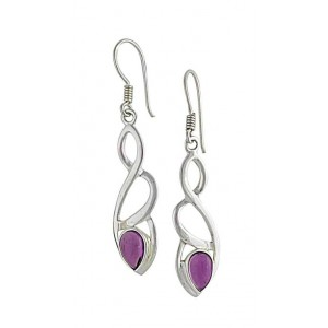 Silver Crossover Drop Amethyst Earrings