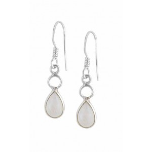Pear Shaped Rainbow Moonstone Silver Drop Earrings