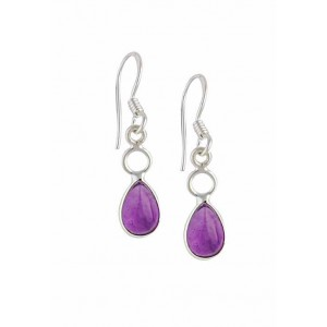 Silver Circle Drop Amethyst Earrings