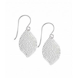 Intricate Silver Leaf Drop Earrings