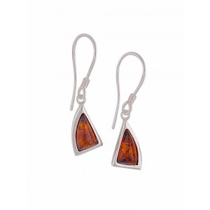 Silver Triangle Amber Earrings - Amber Jewellery